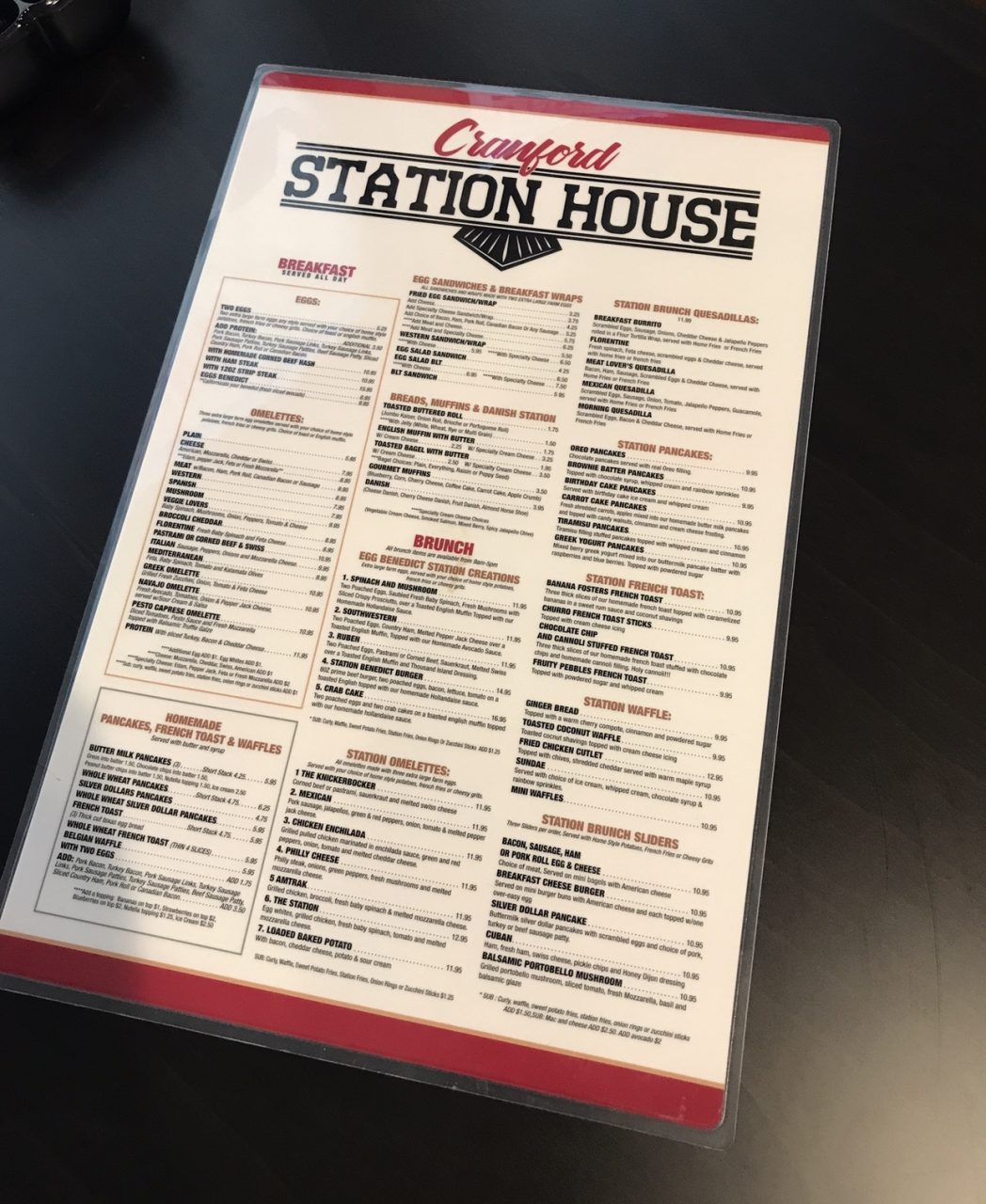 Cranford Station House menu